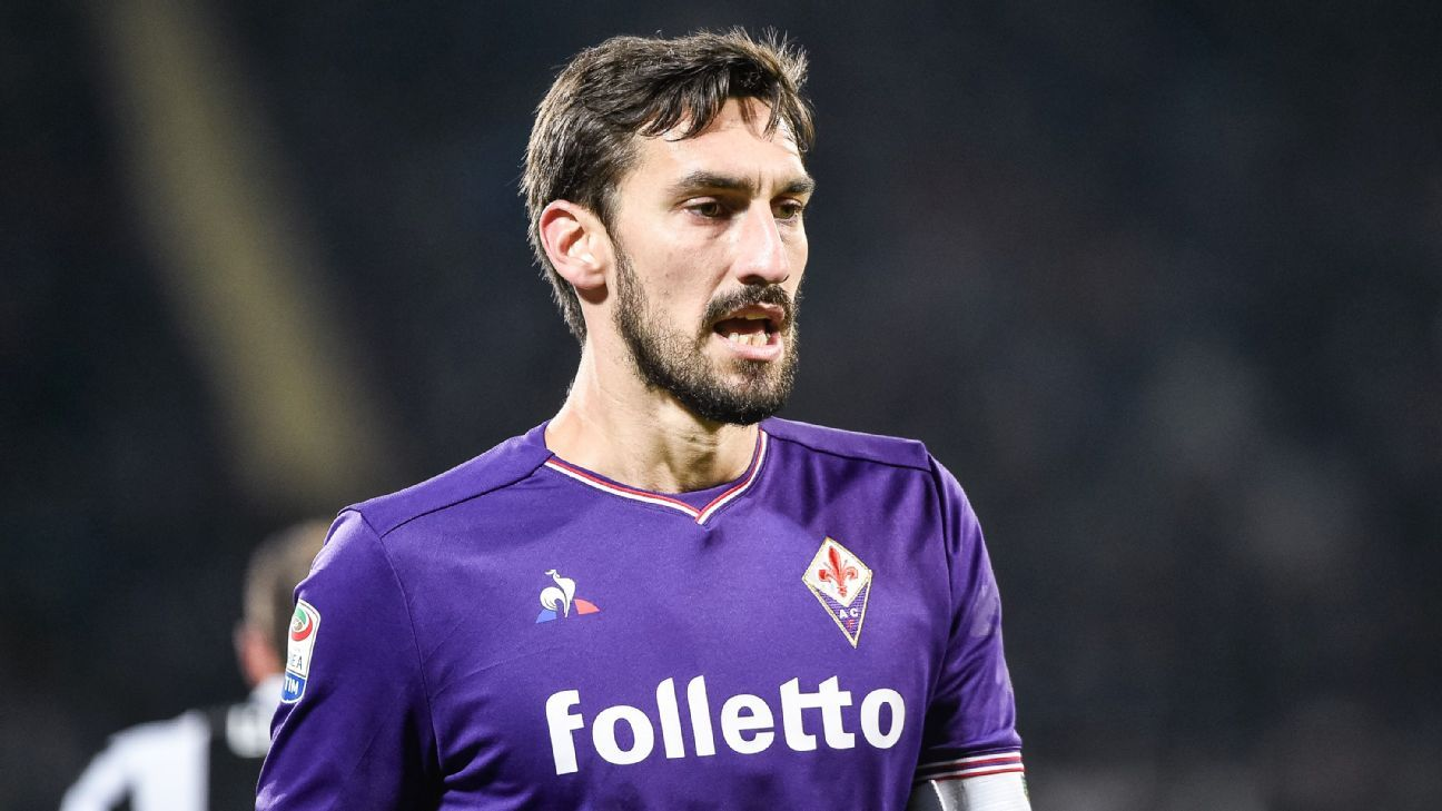 Davide Astori during Fiorentina's game against Juventus in February 2018.