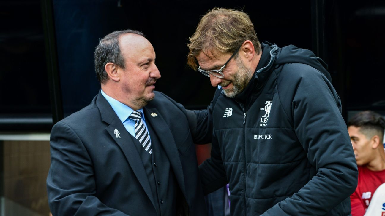 Rafa Benitez and Jurgen Klopp ahead of Newcastle's Premier League game against Liverpool.