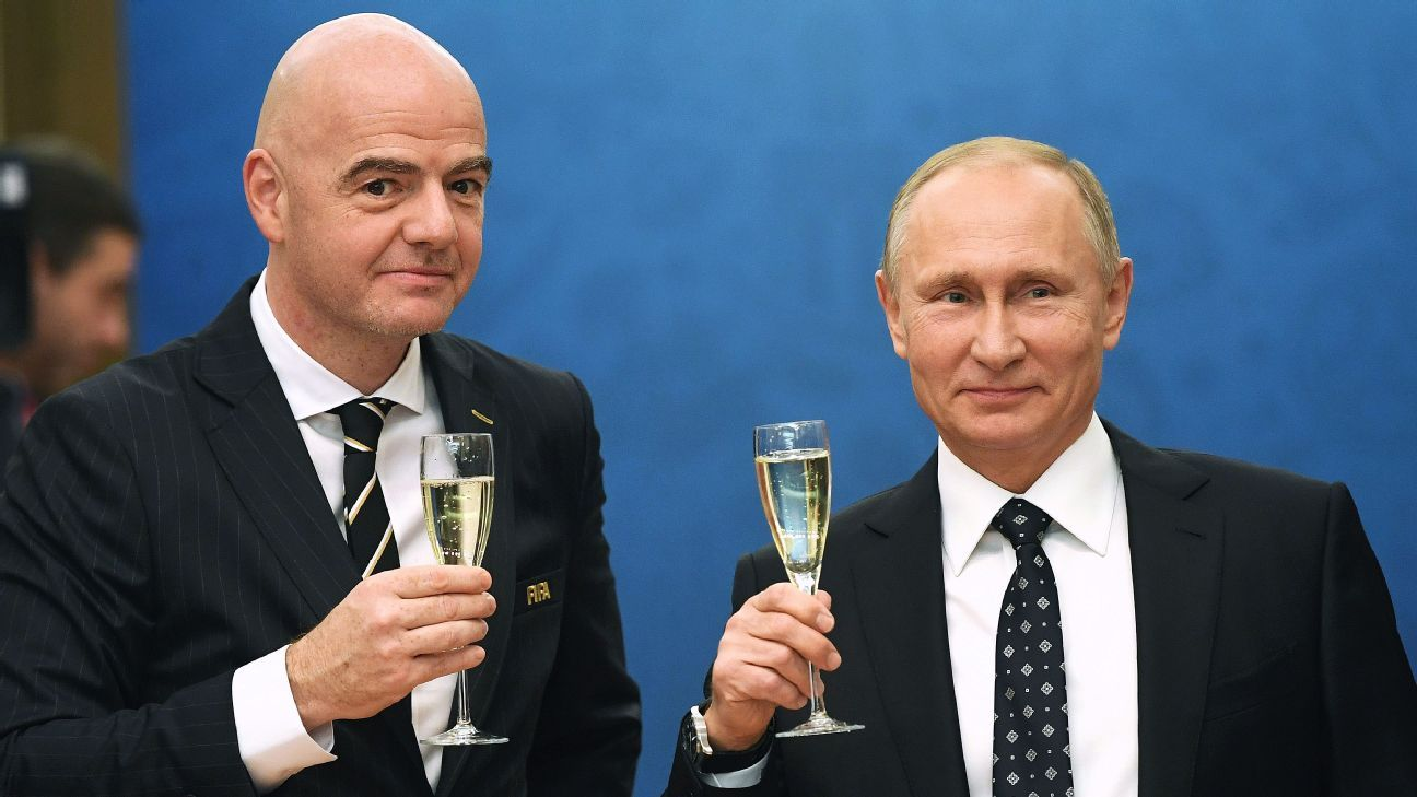 FIFA president Gianni Infantino, left, and Russia president Vladimir Putin, right, at the group-stage draw in December.