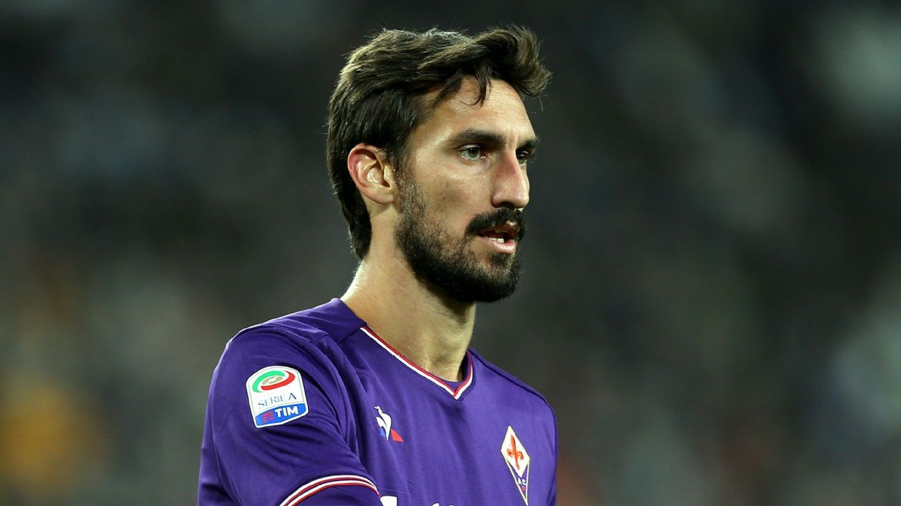 Davide Astori during Fiorentina's Seria A game against Juventus in September 2017.