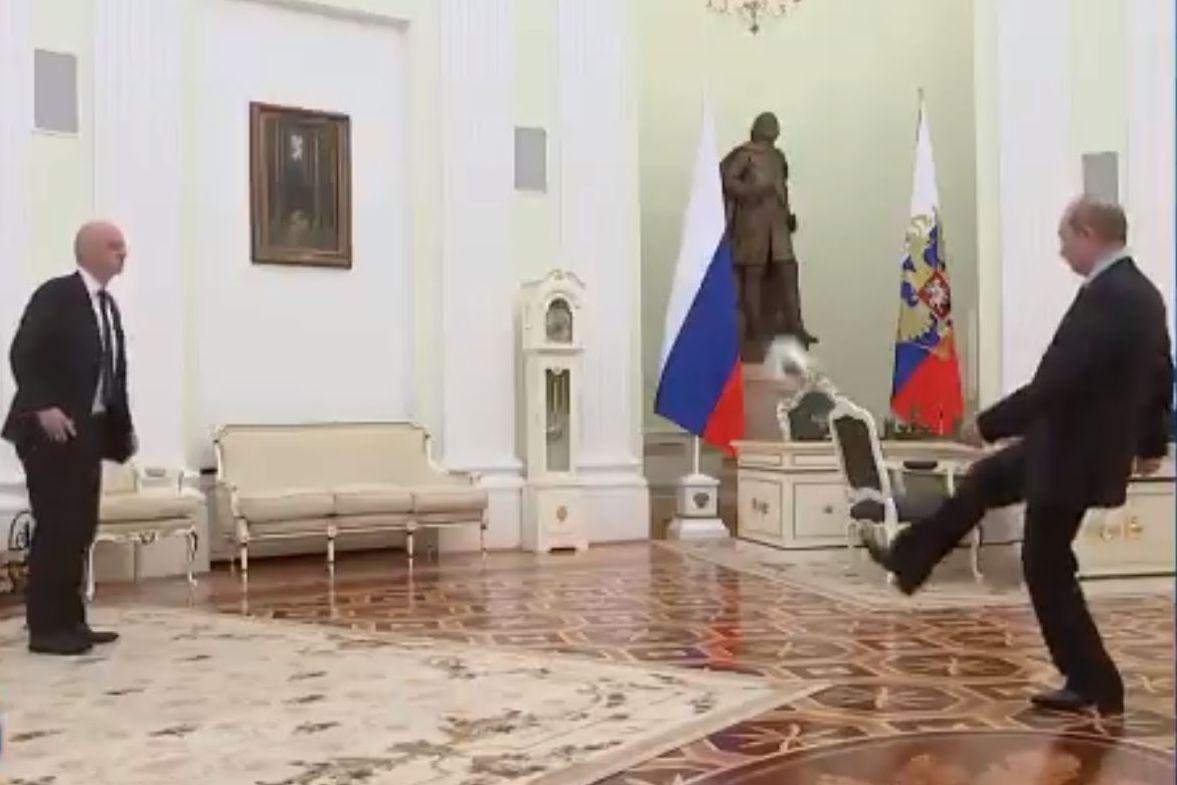 Vladimir Putin plays keep-ups to mark 100 days until 2018 World Cup