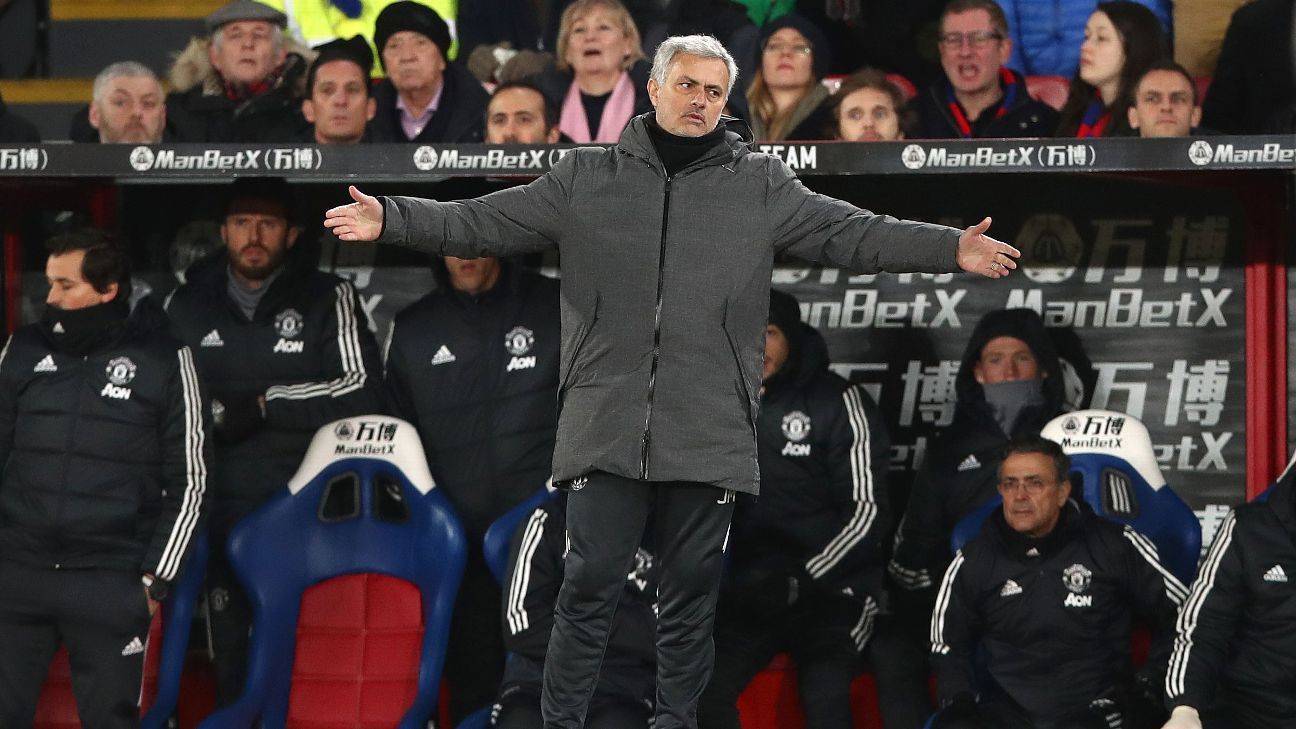 Man United manager Jose Mourinho looks on against Crystal Palace.