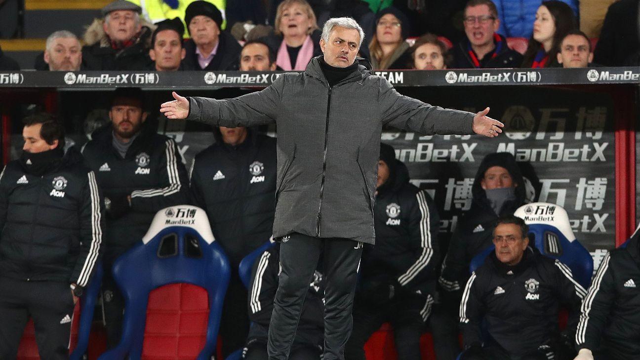Man United manager Jose Mourinho looks on against Crystal Palace.