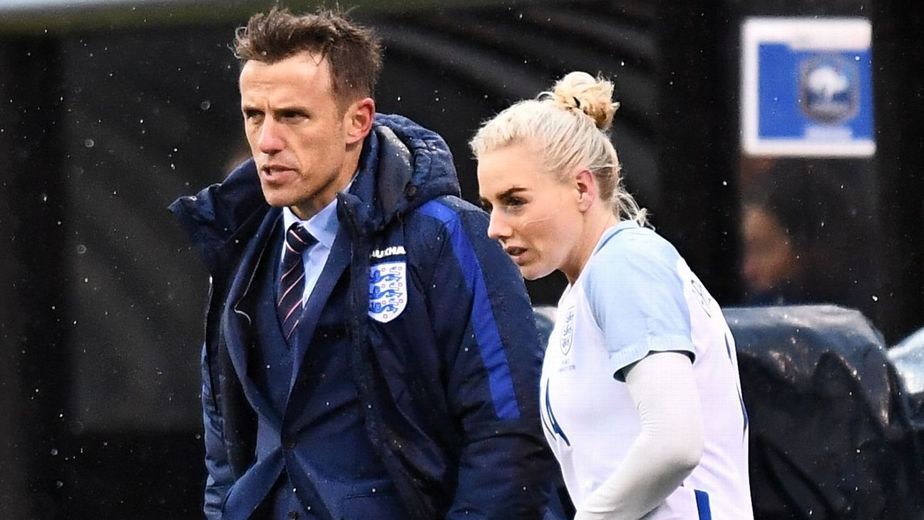 England womens' coach Phil Neville with Alex Greenwood