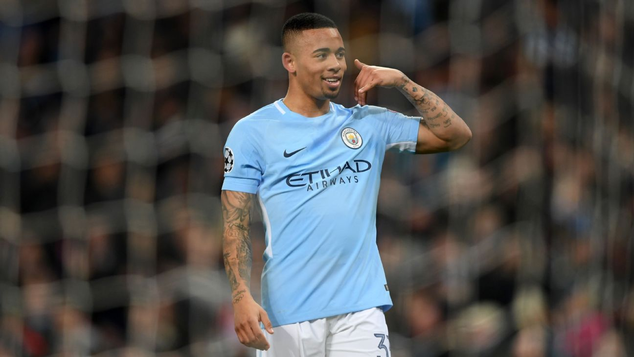 Gabriel Jesus celebrates after scoring a goal for Man City against Basel in the Champions League.