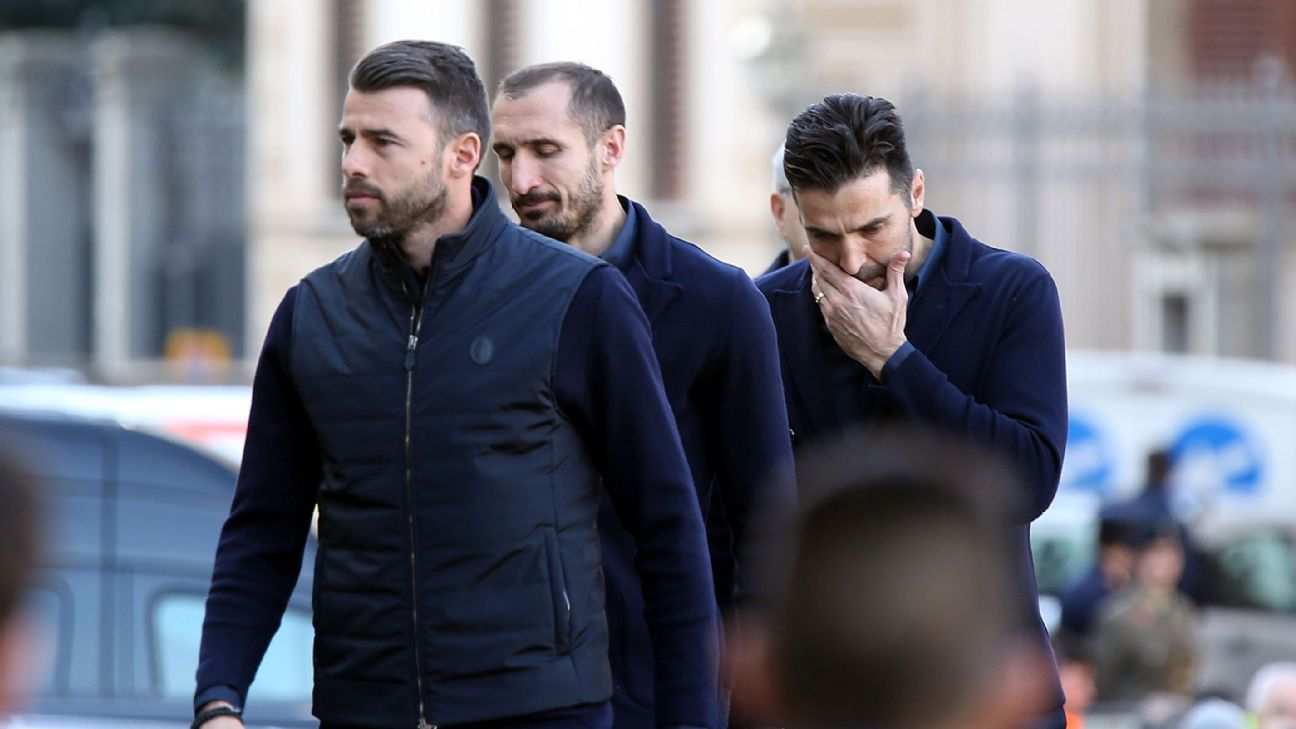 Juventus' Andrea Barzagli, Giorgio Chiellini and Gianluigi Buffon attended Astori's funeral.