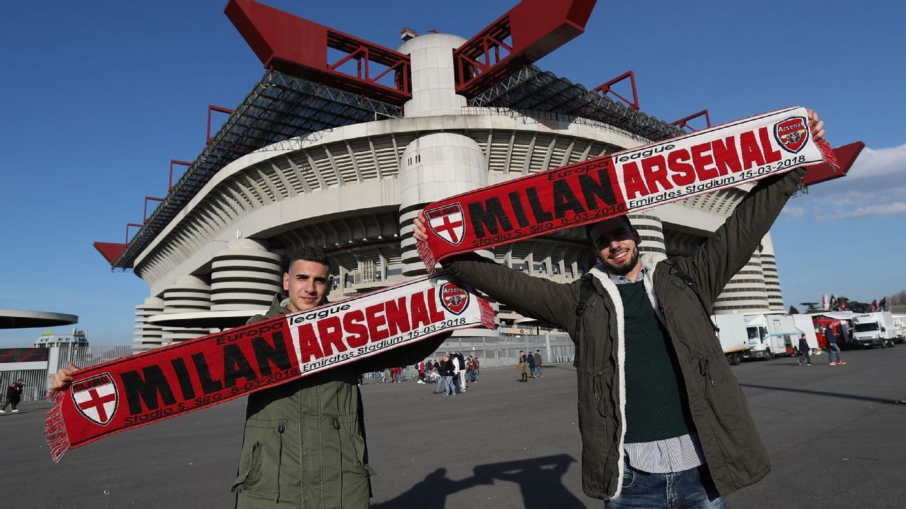 The San Siro, pictured ahead of Milan's Europa League game against Arsenal last season.