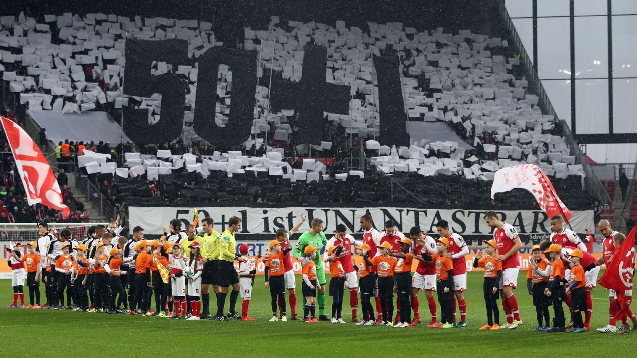 Stuttgart fans show their support for Germany's 50+1 rule before their Bundesliga match at Mainz
