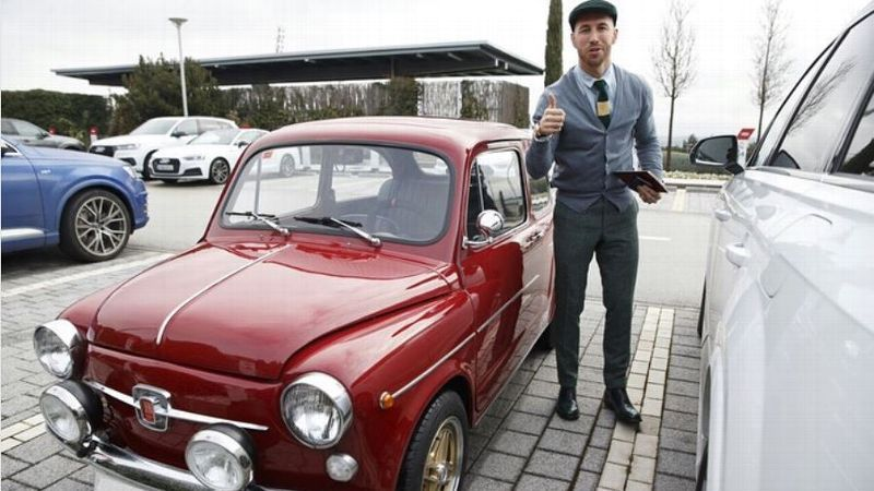 Sergio Ramos poses with classic Seat 600 car