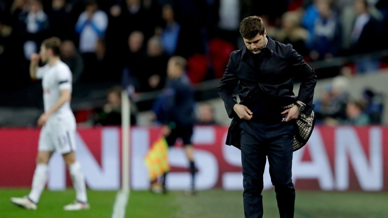 Mauricio Pochettino reacts to the final whistle of Tottenham's 2-1 defeat to Juventus.