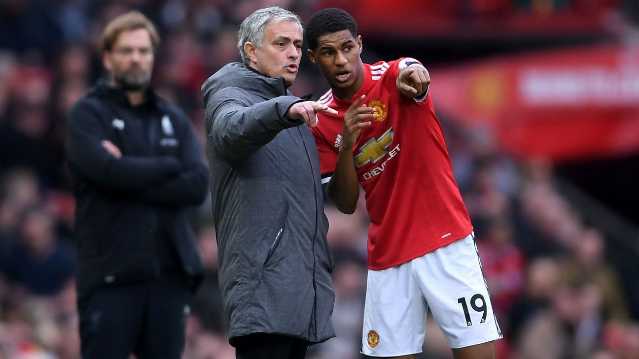 Jose Mourinho and Marcus Rashford during Manchester United's Premier League game against Liverpool at Old Trafford.
