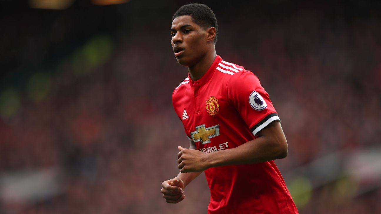 Marcus Rashford during Manchester United's Premier League game against Liverpool at Old Trafford.
