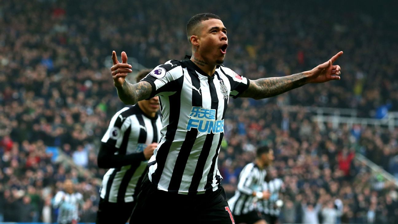 Kenedy celebrates after scoring for Newcastle in their Premier League game against Southampton.