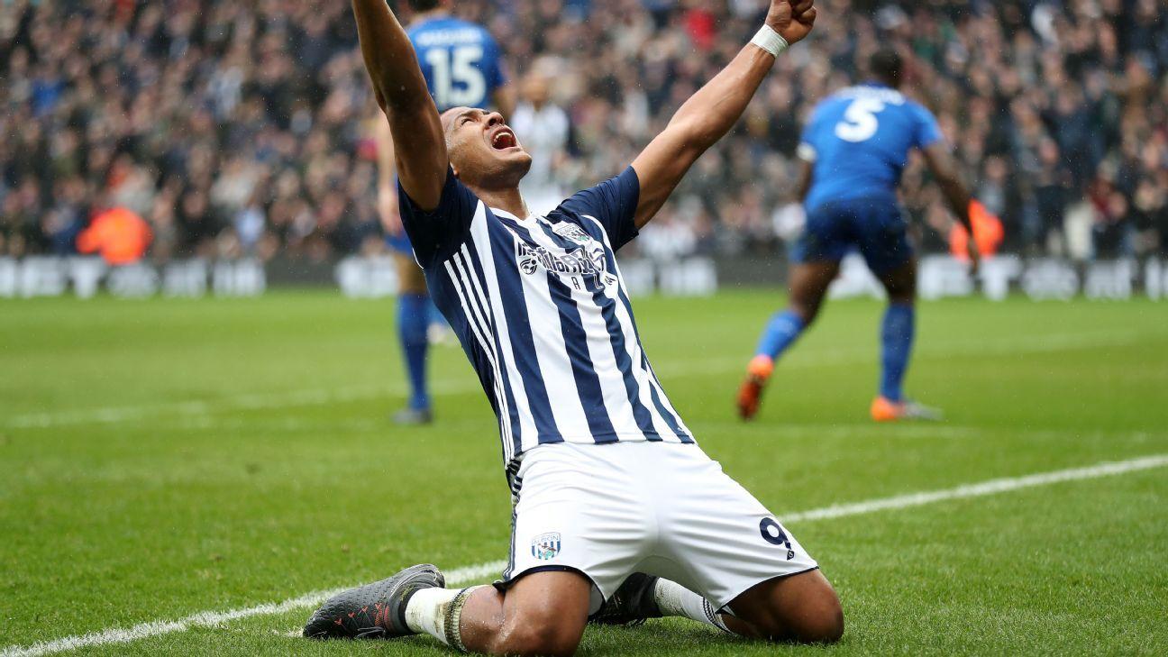 Salomon Rondon celebrates his goal for West Bromwich Albion against Leicester.