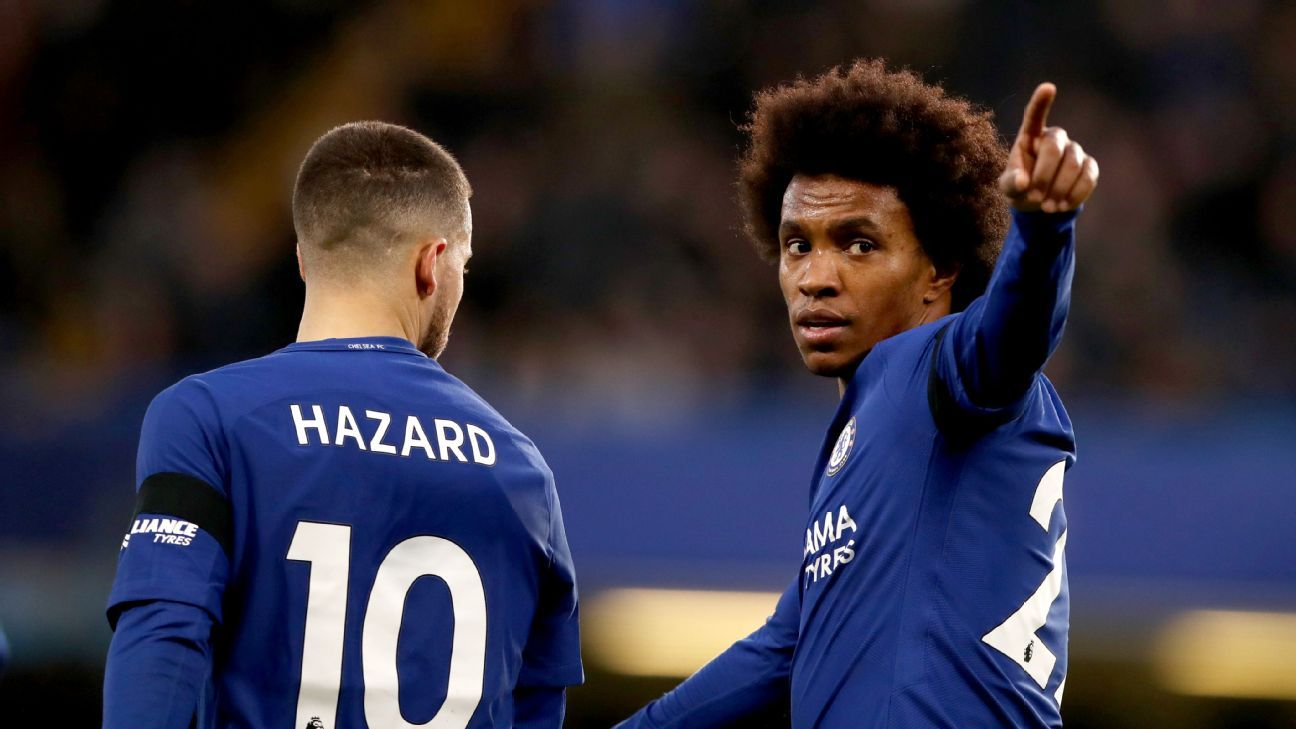 Chelsea's Willian celebrates his opener against Crystal Palace.