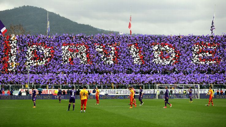 Fiorentina supporters pay tribute to Davide Astori.
