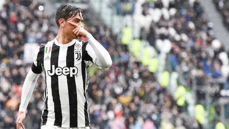 Paulo Dybala celebrates after giving Juventus the lead in their Serie A game against Udinese.