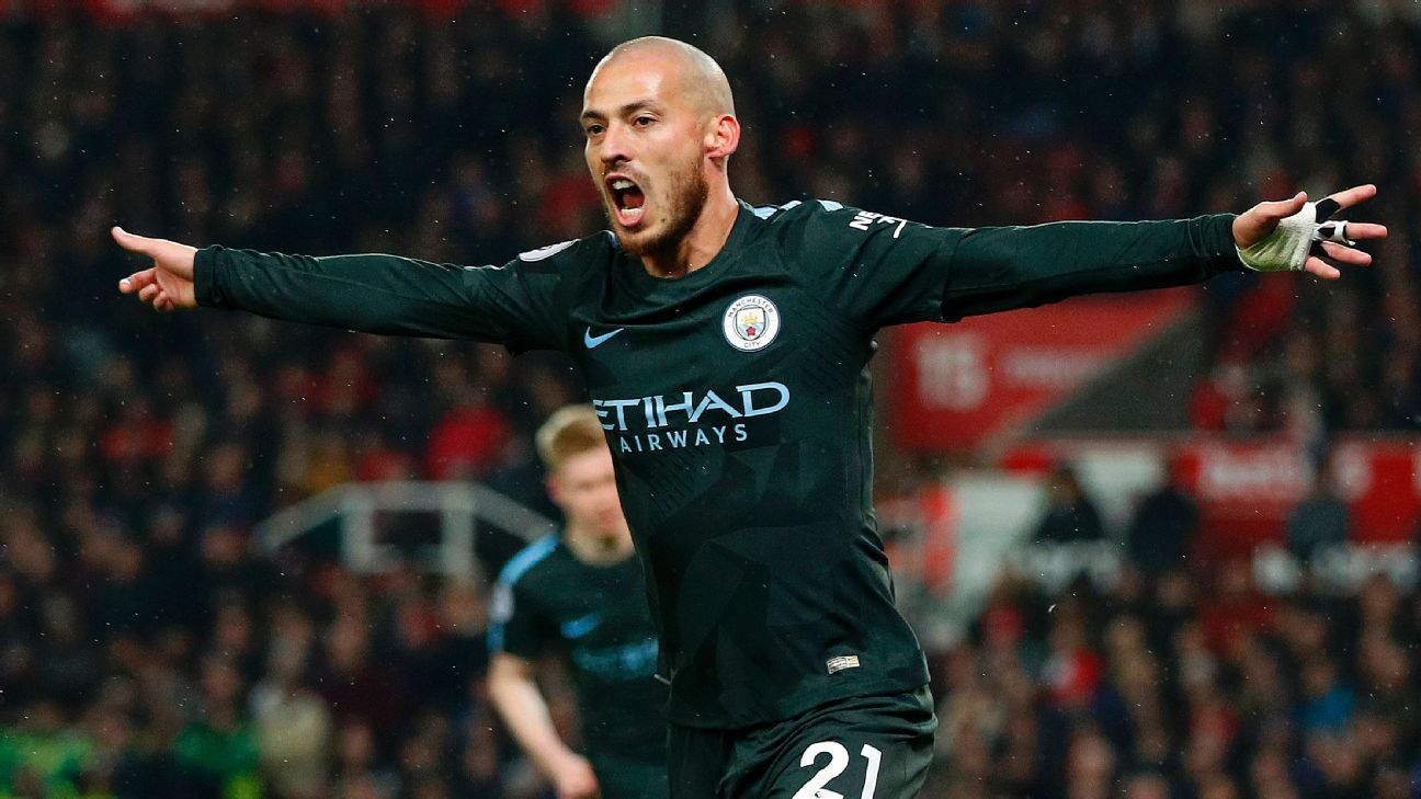 David Silva celebrates his first goal vs. Stoke City.