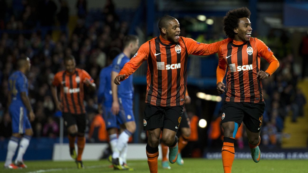 Luiz Adriano, left, and Willian are just two of the numerous Brazilians to debut in Europe with Shakhtar.