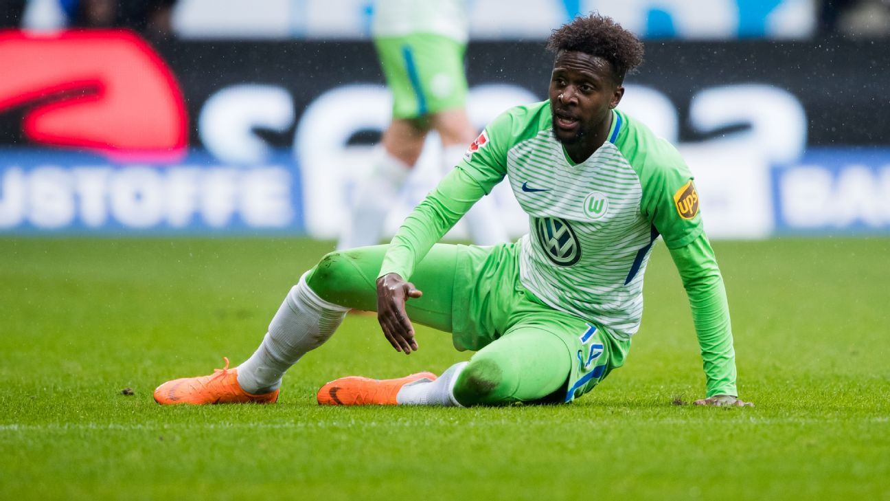 Divock Origi in action for Wolfsburg against Hoffenheim.