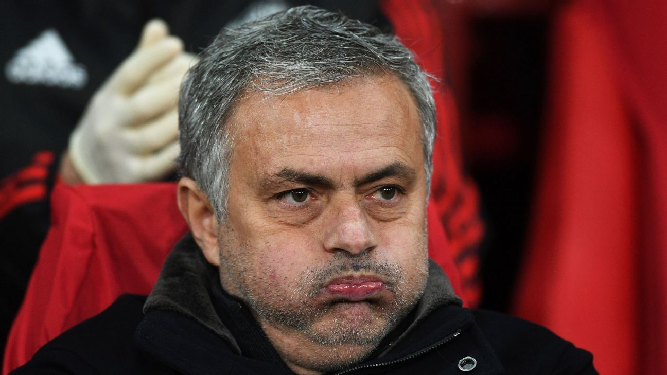 Jose Mourinho looks on in disappointment against Sevilla.