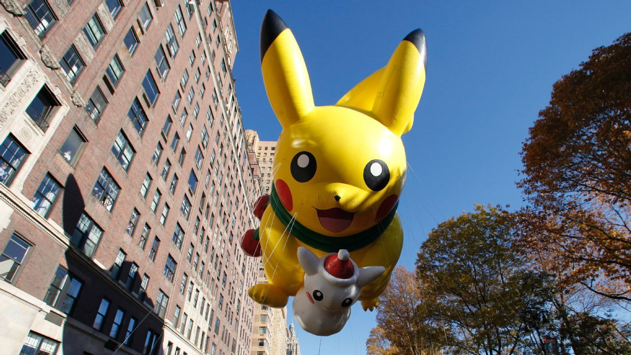 Pikachu balloon at Thanksgiving Day parade in New York