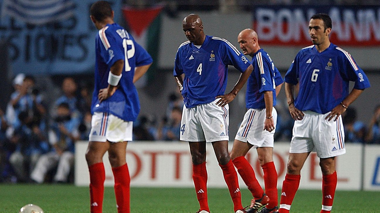France's World Cup defence ended in ignominy in 2002.