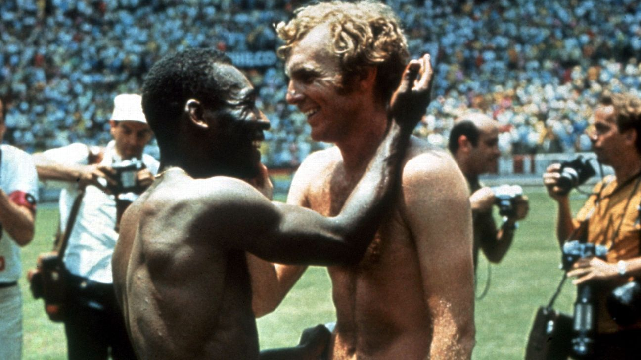 While great rivals, Pele and Bobby Moore were good friends.