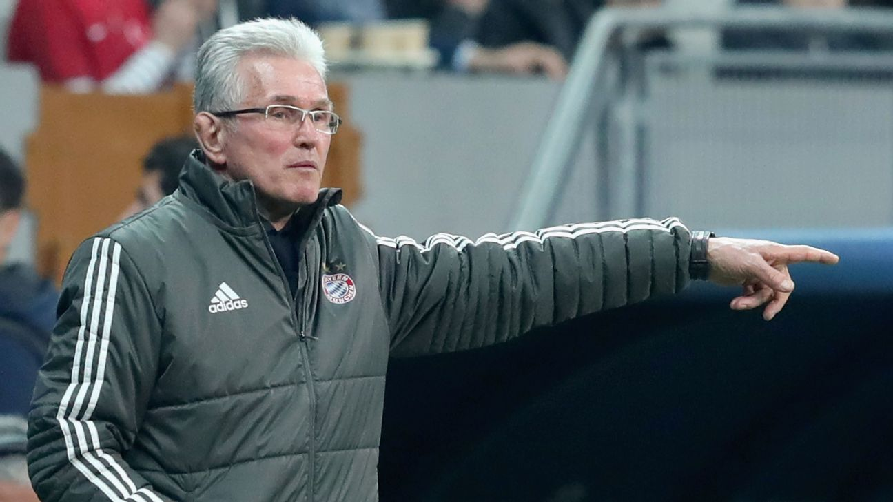 Jupp Heynckes gestures to his team during Bayern Munich's 3-1 win against Besiktas.