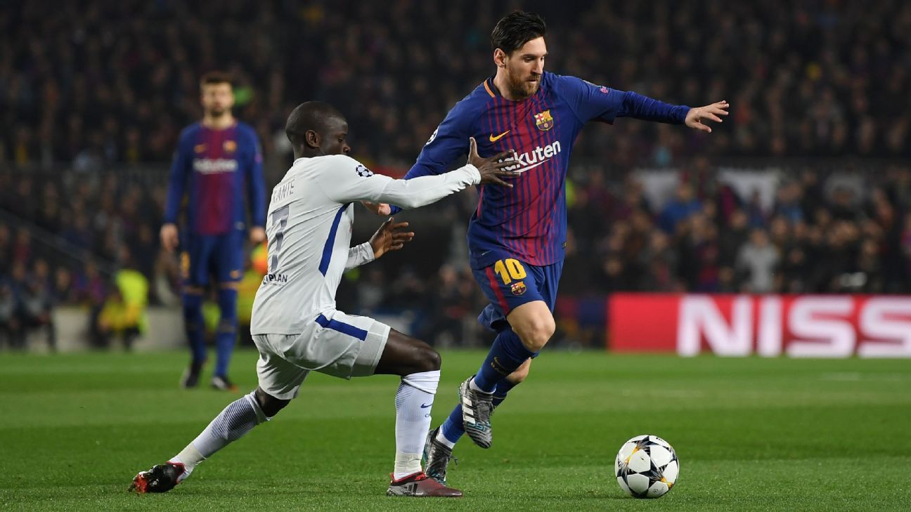 N'Golo Kante defends against Lionel Messi in Chelsea's Champions League loss to Barcelona.