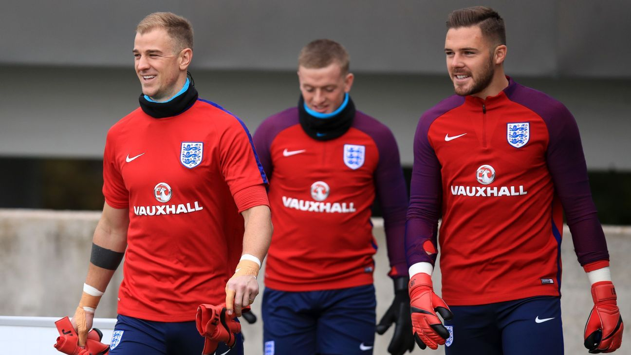 Joe Hart, Jordan Pickford and Jack Butland are all in contention to be England's goalkeeper at the 2018 World Cup.