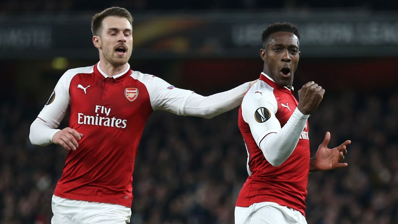 Danny Welbeck celebrates after his penalty goal put the tie to bed vs. Milan.