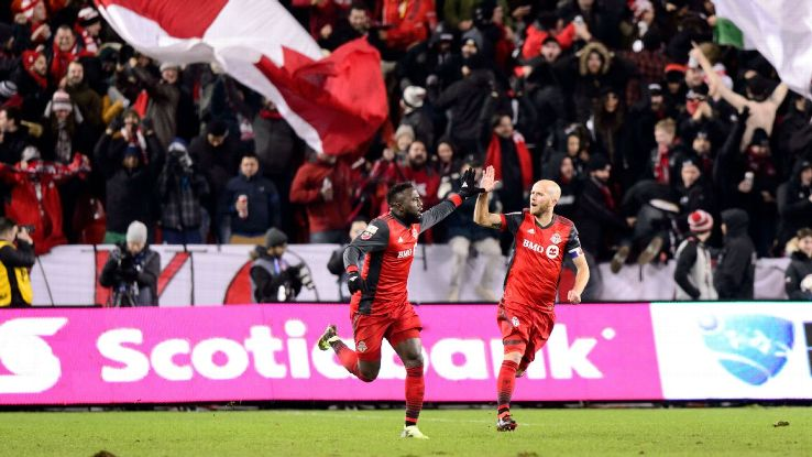 Jozy Altidore, left, and Michael Bradley celebrate after a Toronto FC goal against Tigres.