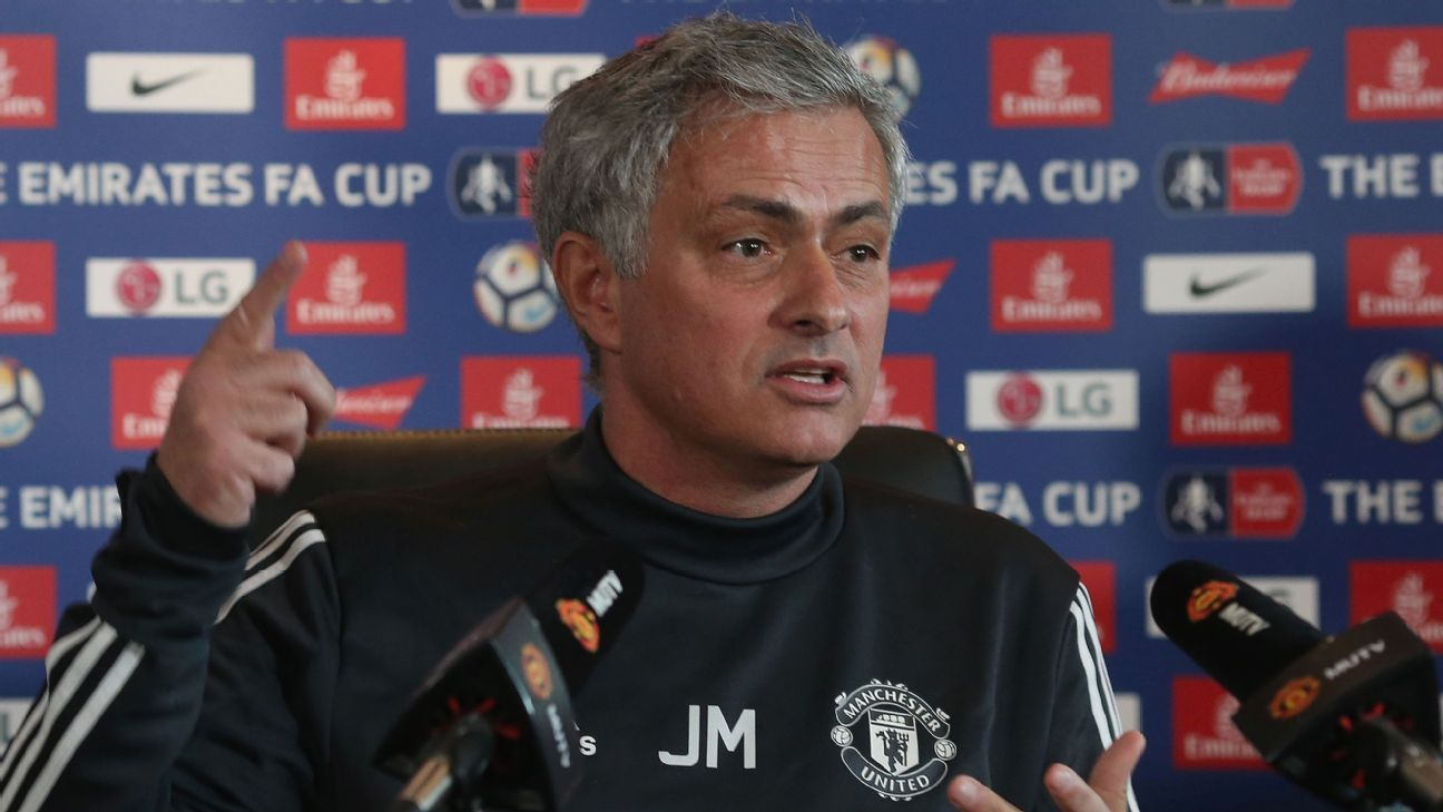 Jose Mourinho speaks at his news conference ahead of the FA Cup tie against Brighton.