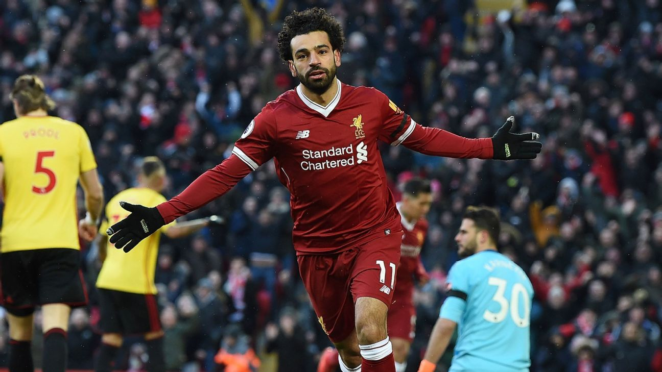 Mohamed Salah set a Liverpool record for goals in a debut season with his 34th of the season.