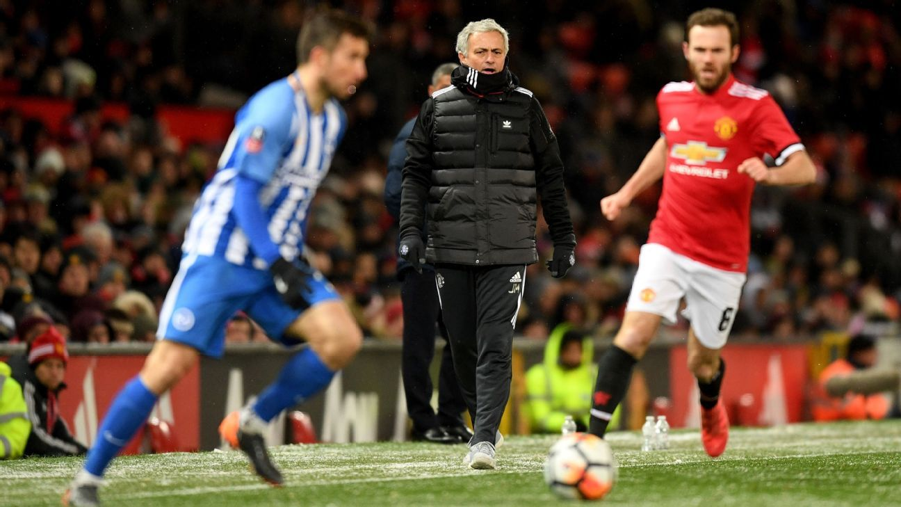 Jose Mourinho will want an improved display from his side vs. Brighton this Sunday.