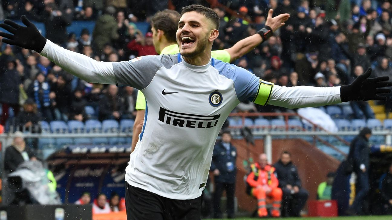 Mauro Icardi celebrates his second goal.