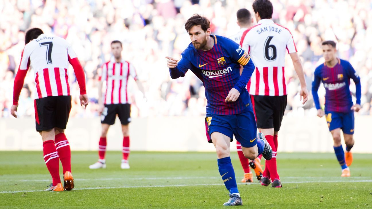 Lionel Messi celebrates his goal vs. Athletic Bilbao.