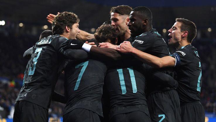 Chelsea celebrate Pedro winner