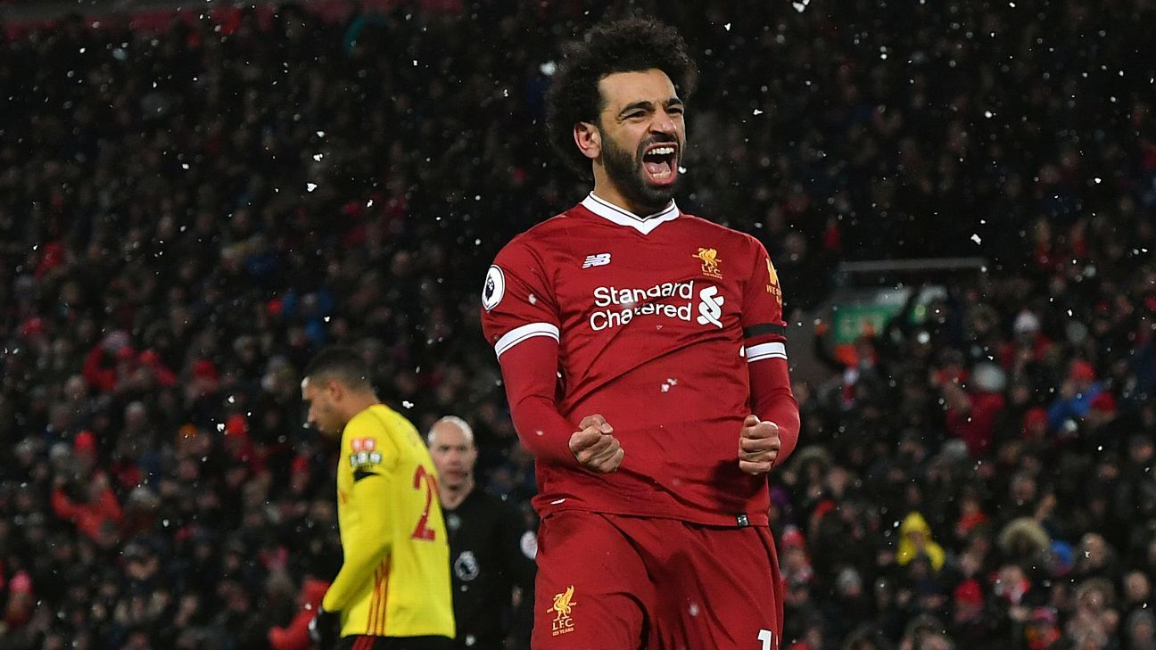 Mohamed Salah scored four in a blinding performance vs. Watford.