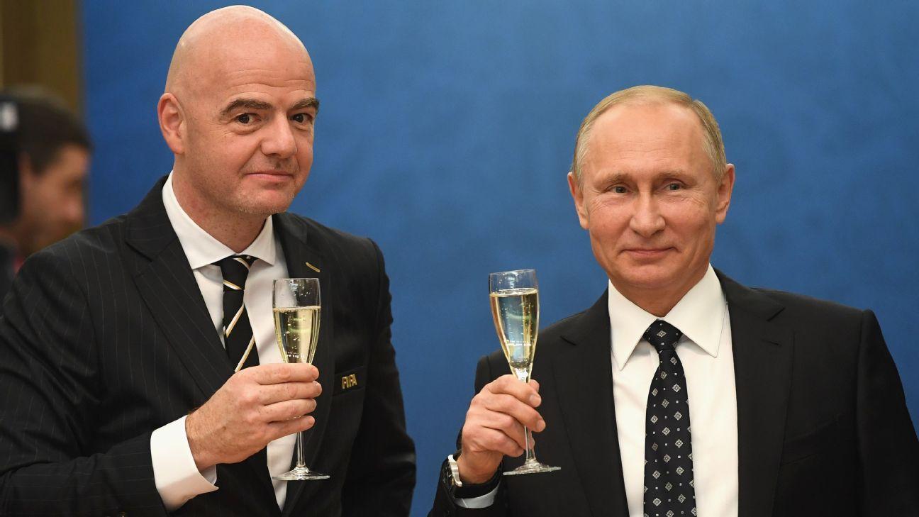 Russian President Vladimir Putin and FIFA president Gianni Infantino.