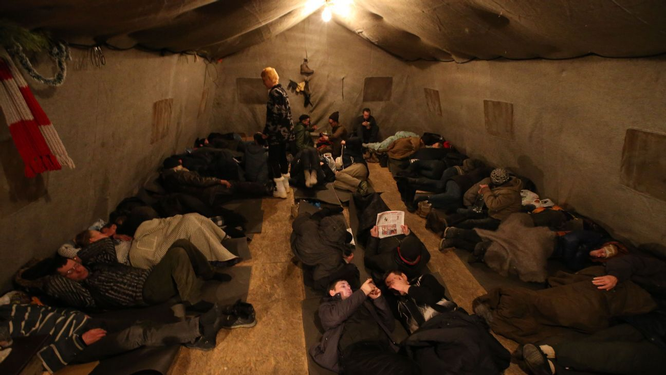 A window into the struggles of the Russia economy: homeless people at a St. Petersburg warming shelter.