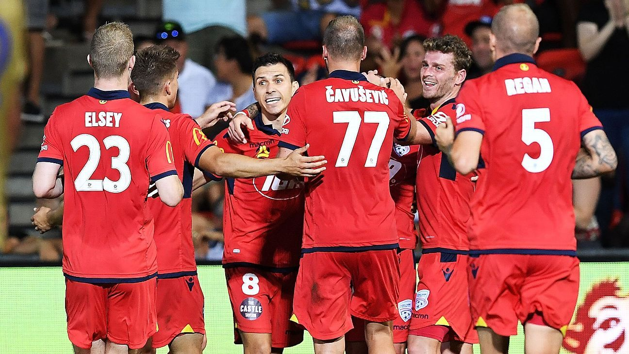 Adelaide United celebrate Daniel Adlung's second goal.