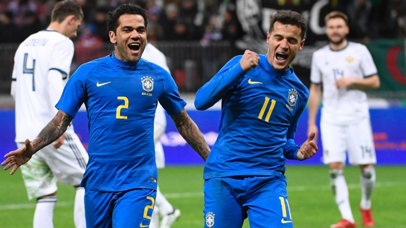 Philippe Coutinho celebrates after scoring for Brazil in their friendly game against Russia.