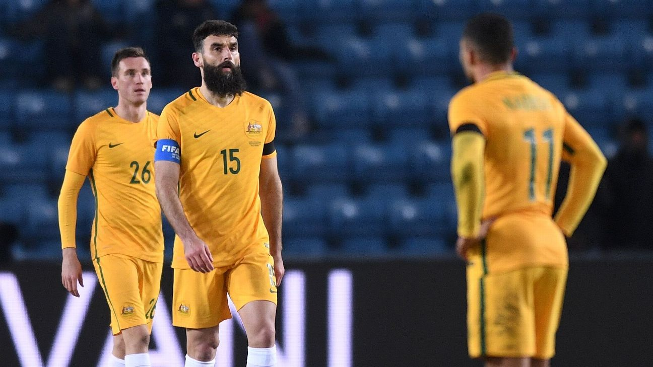 Mile Jedinak and Aleksandar Susnjar of Australia look on during the friendly defeat against Norway.