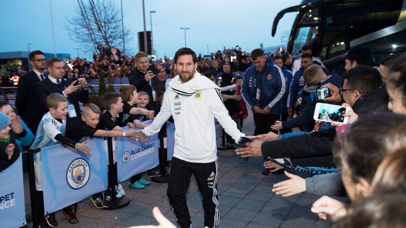 Lionel Messi did not play, but was till the centre of attention at the Etihad.