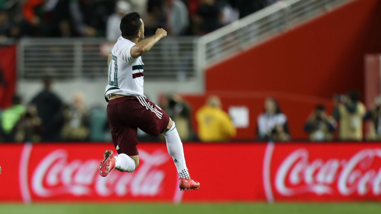 Marco Fabian celebrates after scoring a goal for Mexico in a friendly against Iceland.