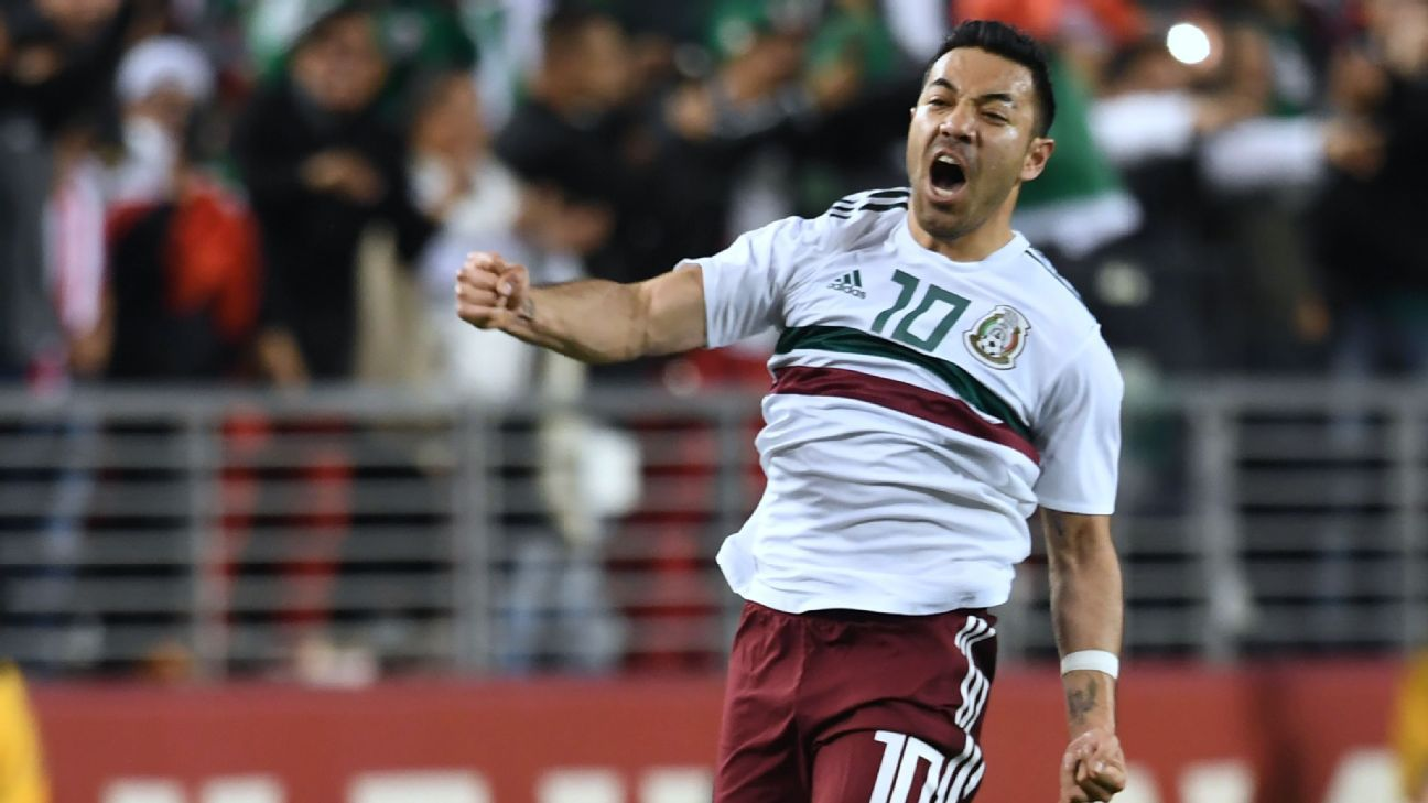 Marco Fabian celebrates scoring for Mexico against Iceland.