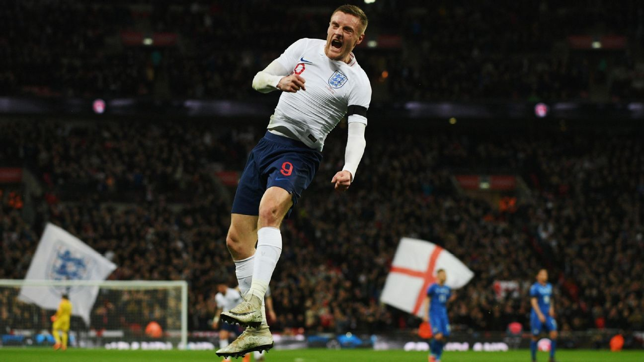 Jamie Vardy celebrates after scoring the opening goal during the friendly match between England and Italy.