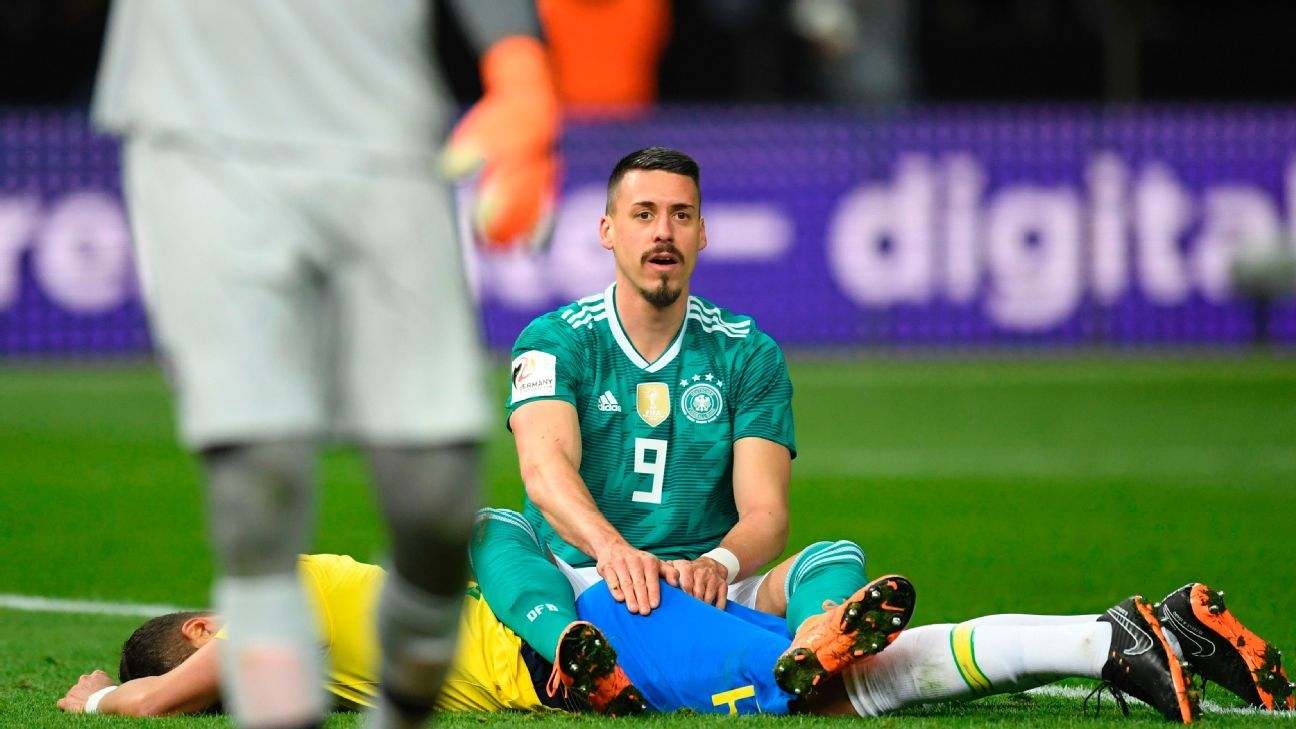 Germany's Sandro Wagner reacts to a foul call against Brazil.